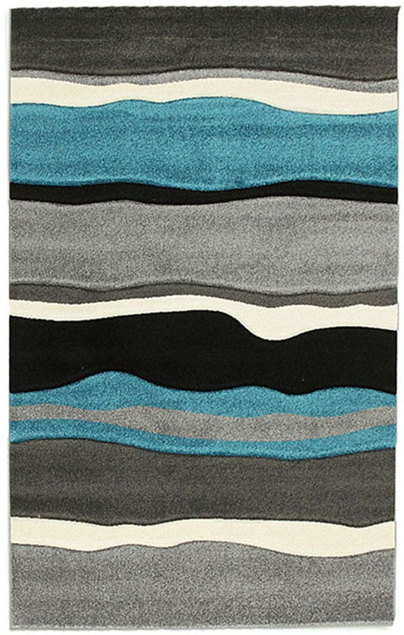 Icon Stunning Thick Wave Rug Blue Grey