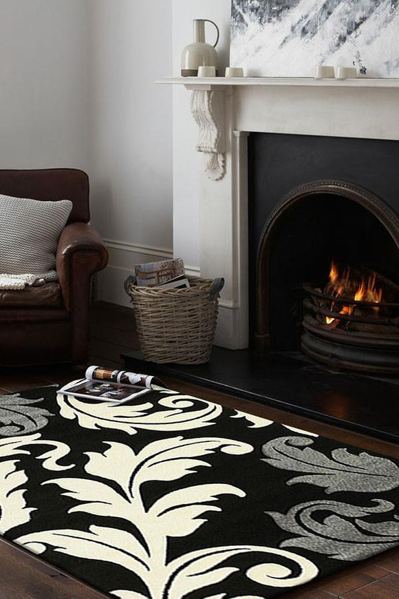 Icon Damask Leaf Design Rug Black Grey