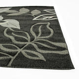Icon Stunning Thick Leaf Runner Rug Black