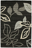 Icon Stunning Thick Leaf Rug Black