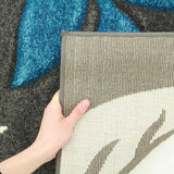 Icon Stunning Thick Leaf Runner Rug Charcoal