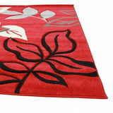 Icon Stunning Thick Leaf Rug Red