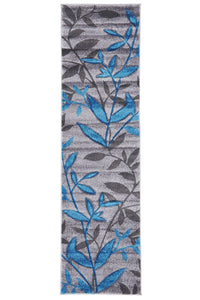 Icon Stunning Spring Leaf Rug Grey Blue