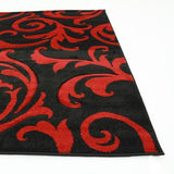 Icon Stunning Thick Damask Runner Rug Black