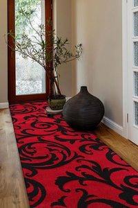 Icon Stunning Thick Damask Runner Rug Red