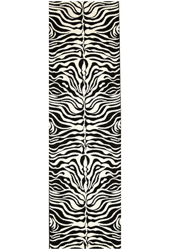 Icon Stunning Zebra Pattern Runner Rug Black Off White