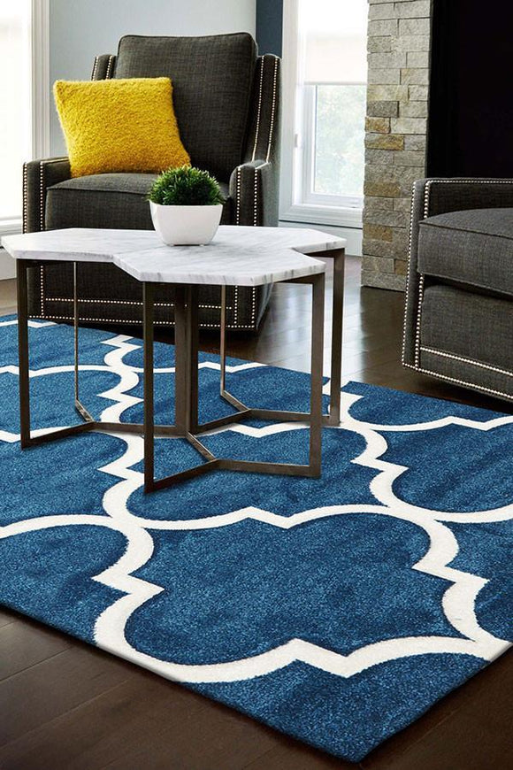 Icon Large Modern Trellis Rug Blue