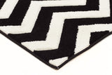 Icon Modern Chevron Design Runner Rug Black White