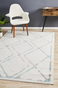 Kendall Contemporary Diamond Rug Grey Blue