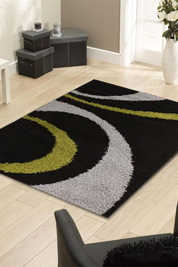 Notes Collection 7 Black And Green Rug