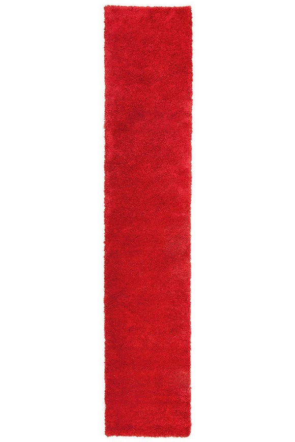 Pandora Thick Soft Polar Shag Runner Rug - Rouge