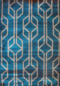 Melbourne Teal Geometric Pattern Rug