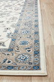 Sydney Collection Classic Rug White with Beige Border