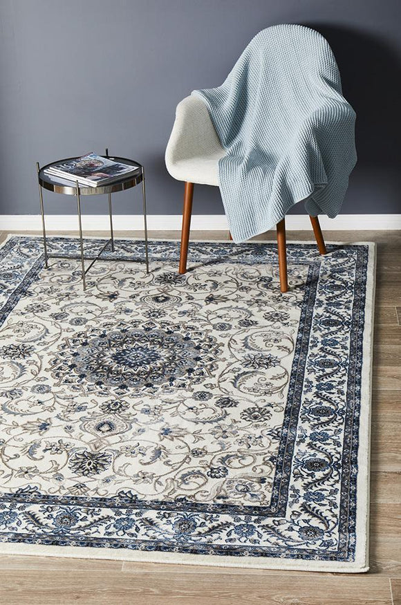 Sydney Collection Medallion Rug White with White Border
