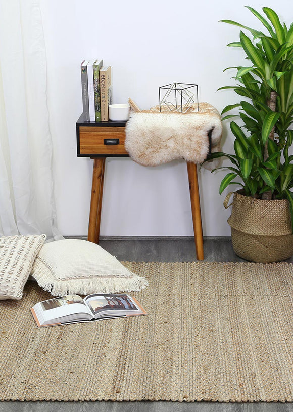Taj Black Natural Basket Weave Jute Rug