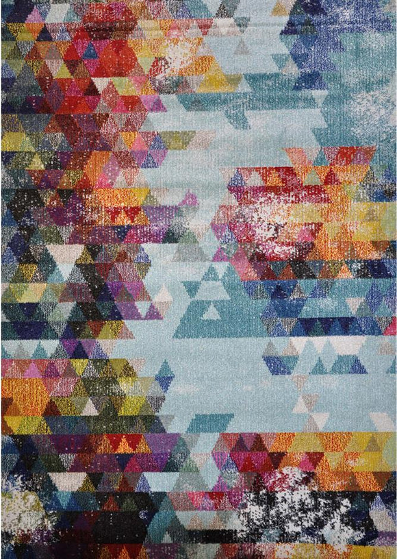 Spirit Blue Abstract Triangle Shape Patterned Rug