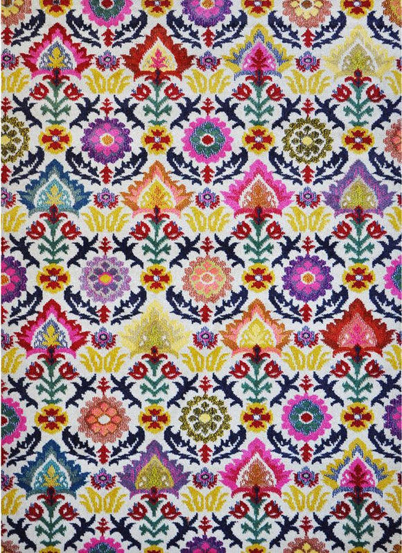 Spirit Multi Colour Floral Flower Patterned Ikat Rug