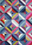 Spirit Blue and Multi Colour Geometric Ikat Rug