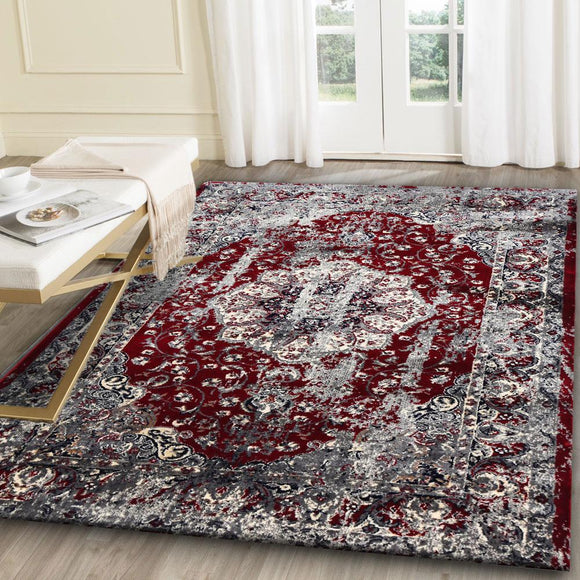 Artifact Red and Grey Distressed Traditional Vintage Persian Medallion Rug