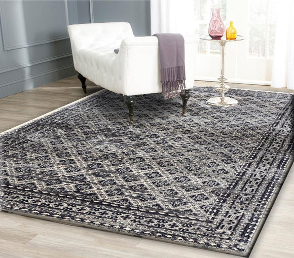 Artifact Grey Distressed Traditional Vintage Persian Boarder Rug