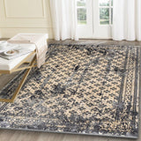 Artifact Beige & Grey Distressed Traditional Vintage Persian Boarder Rug