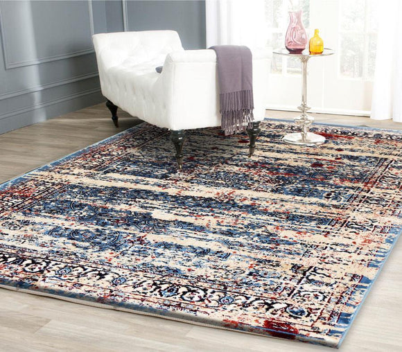Artifact Blue and Multi Colour Transitional Oriental Medallion Distressed Silky Viscose Rug