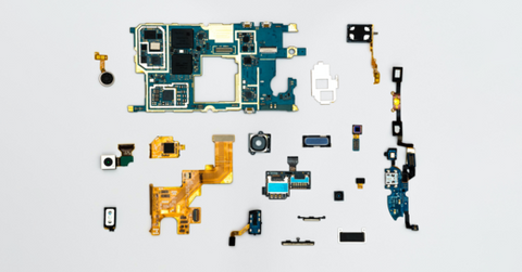 Phone components during a repair.