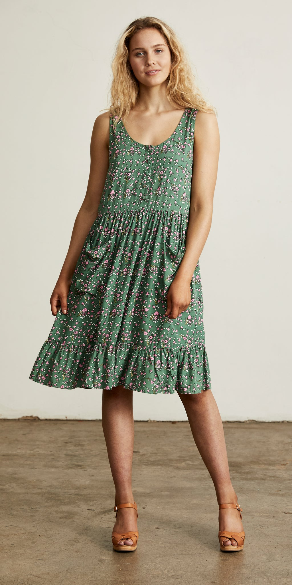 Bellflower Sun Dress Forest Green