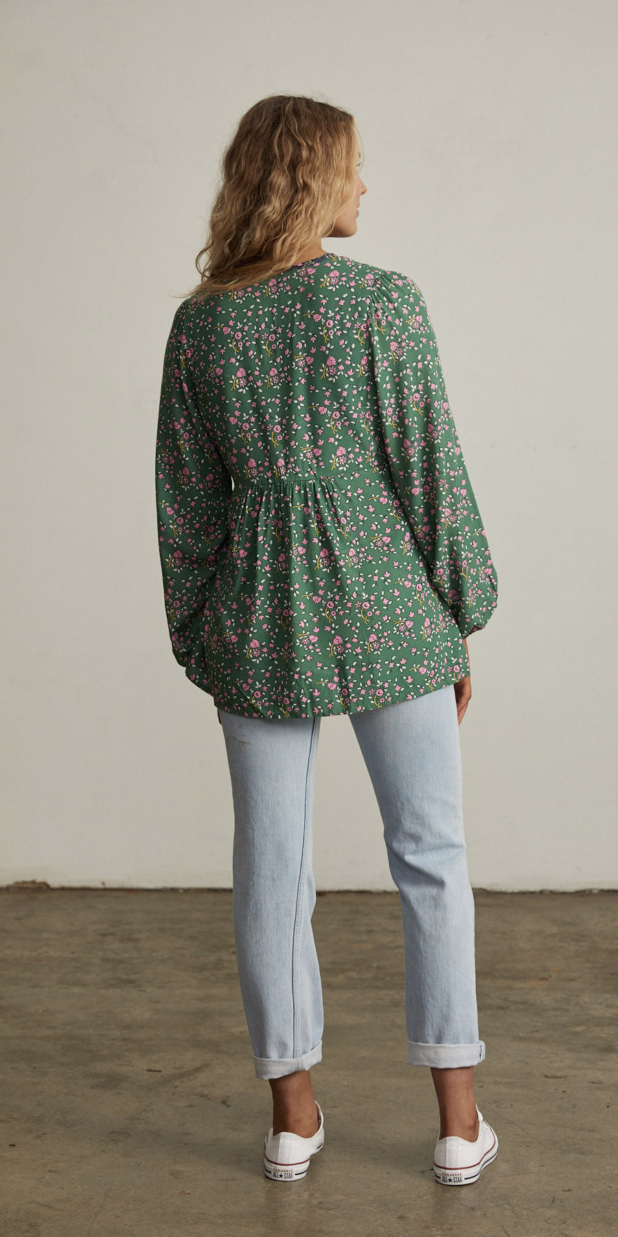 Bellflower Peasant Top Forest Green