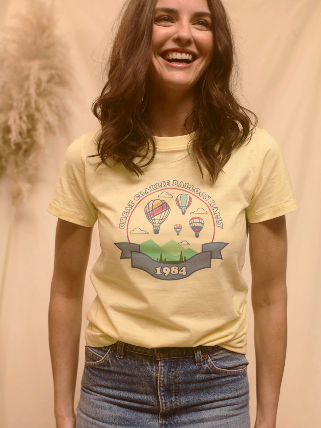 Charlie Balloon Rally Organic Tee - Bellflower Lemon