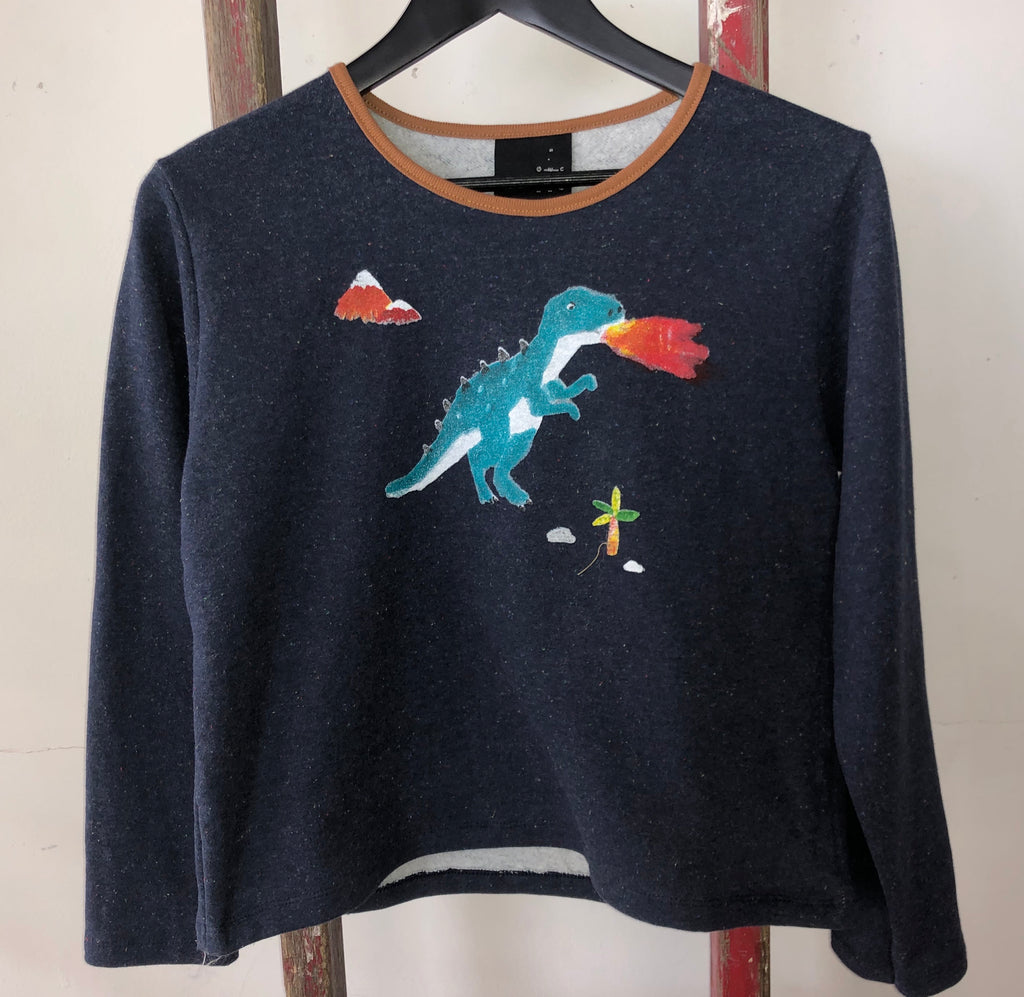 Dinosaur cropped fleece jumper