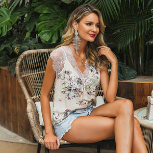 LA Patchwork lace v neck tank top