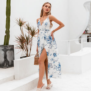 LA  Holiday beach v neck  floral dress