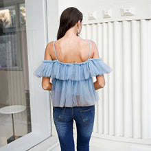 Load image into Gallery viewer, LA  V neck strap boho mesh blouse shirt