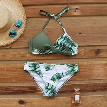 Load image into Gallery viewer, LA  Sexy Push Up Bikinis Leaf Print Swimwear