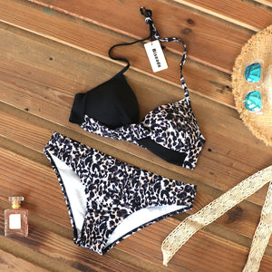 LA  Sexy Push Up Bikinis Leaf Print Swimwear