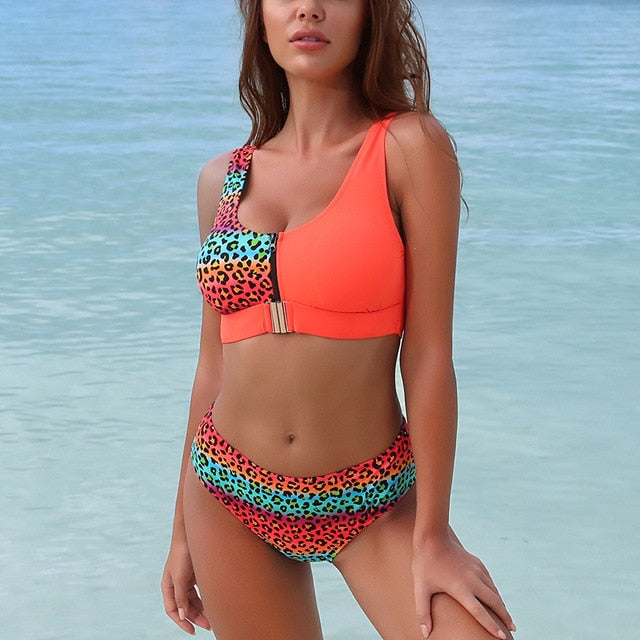 LA Sexy Leopard Bikini Set Chest Zipper Swimsuit