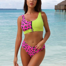 Load image into Gallery viewer, LA Sexy Leopard Bikini Set Chest Zipper Swimsuit