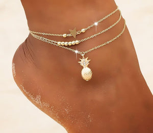 LA Golden Pineapple Layered Ankle Bracelet