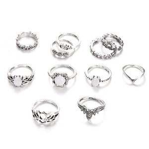 LA Opal Island 11 Piece Ring Set