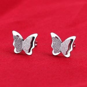 LA Stainless Steel Butterfly Stud Earrings