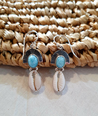 Cowrie & Larimar Earrings