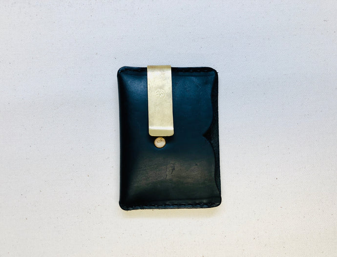The Traveler Wallet in Navy with Russet / Natural Pockets