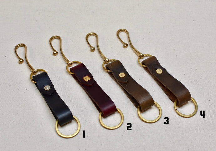 The Chromexcel Key Loop with Brass Hook and Rivet - Brown