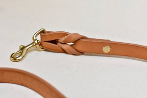 Veg Tan Leather Dog Leash in Russet