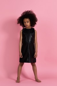 BLACK VEGAN LEATHER DRESS