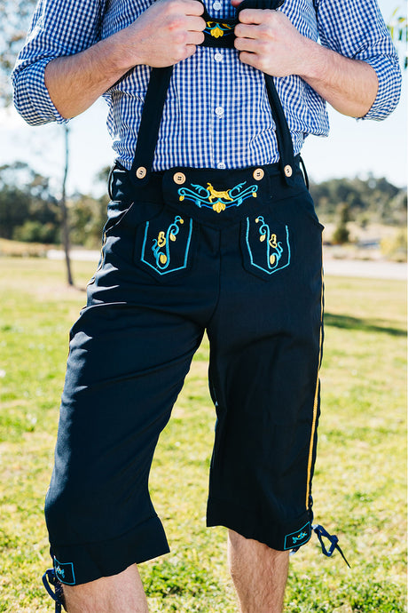The Wolfgang | Navy lederhosen with blue check shirt