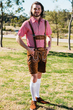 Load image into Gallery viewer, The Gerhard | Premium lederhosen with red check shirt