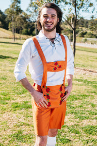 The Jörg | Orange lederhosen and vest