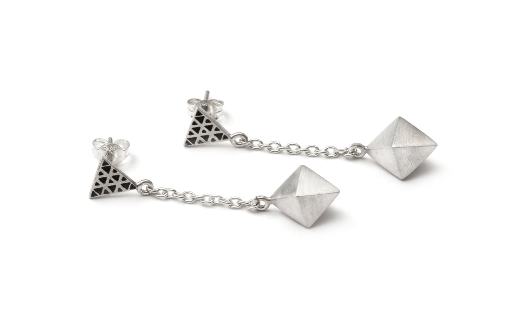 Octahedron Drop Earrings